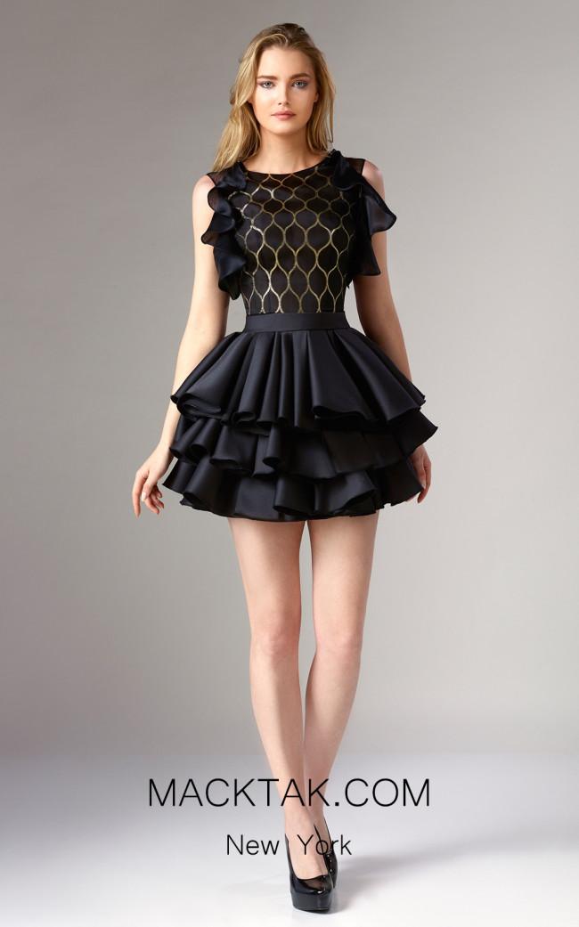 Edward Arsouni FW0323 Black Gold Front Dress