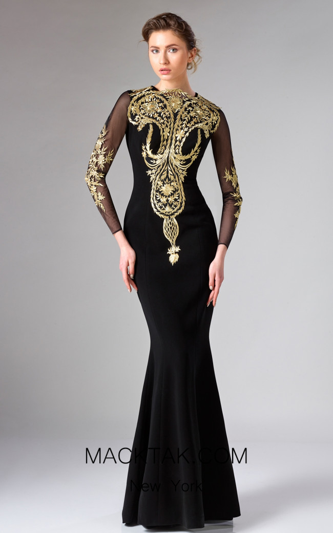 Edward Arsouni FW0326 Black Gold Front Dress