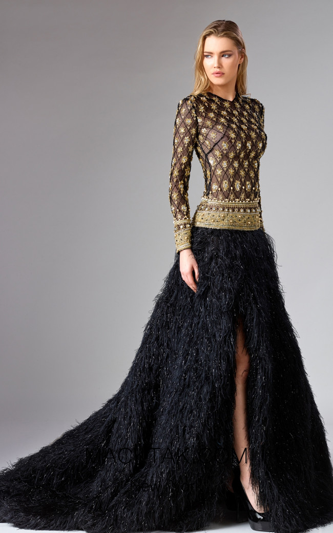Edward Arsouni FW0330 Black Gold Front Dress