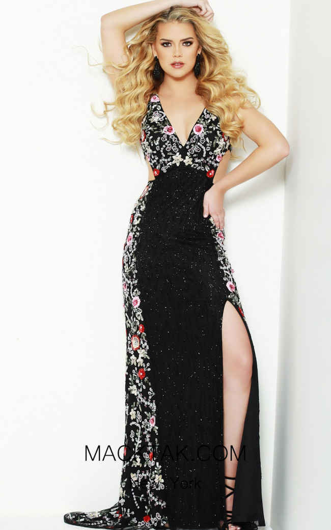 Lush by Jasz Couture 1502 Black Multi Front Prom Dress
