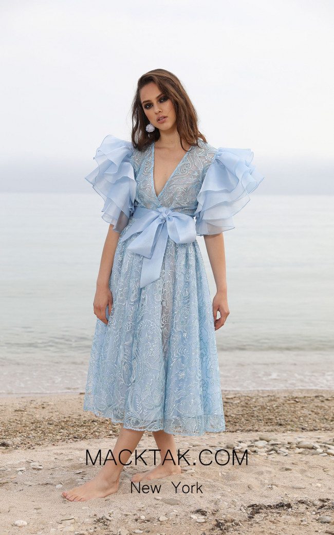 Miau By Clara Rotescu Azul Light Blue Front Dress