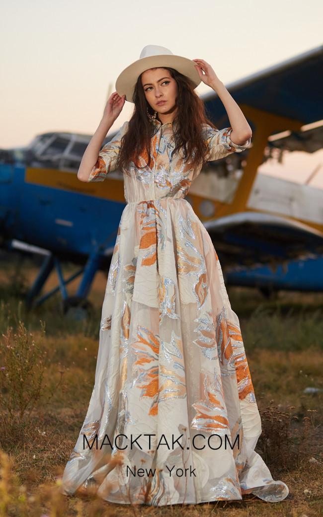 Miau By Clara Rotescu Oni Champagne Multi Front Dress