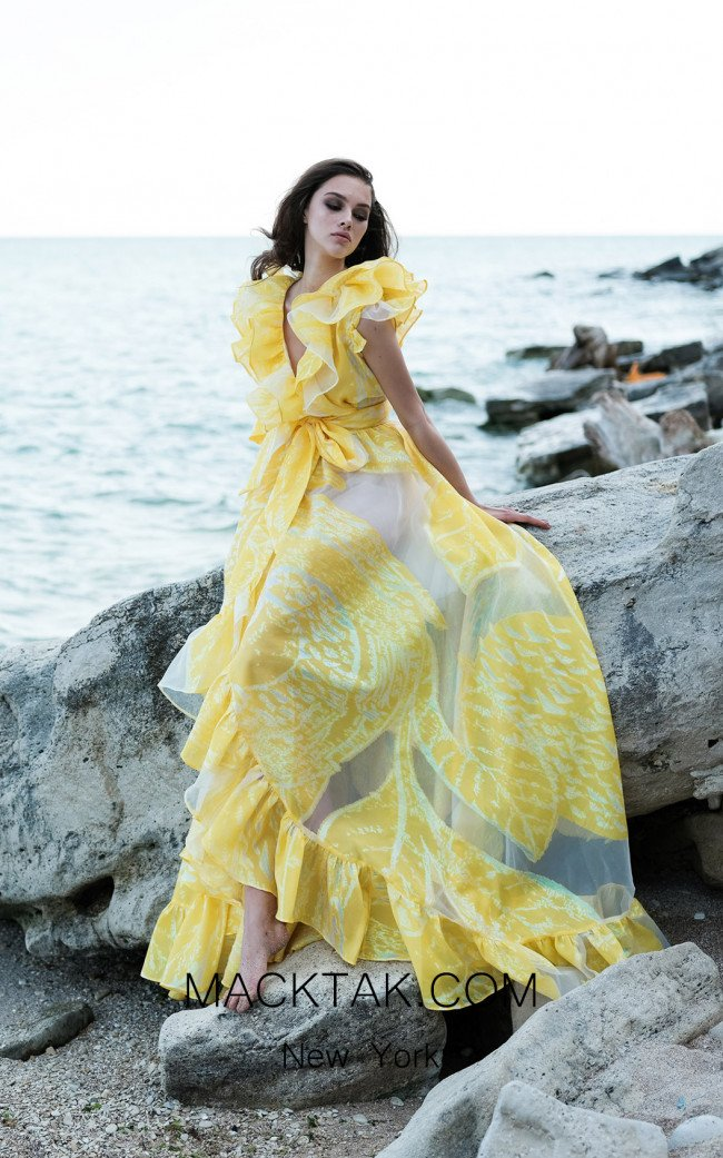 Miau By Clara Rotescu Sicily Yellow Front Dress