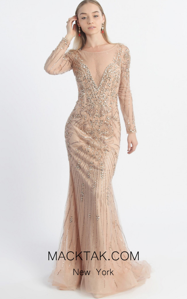 MNM Couture 10836 Peach Front