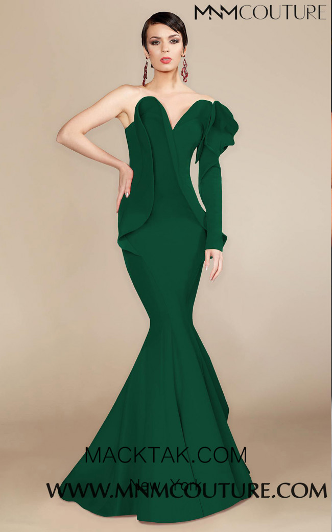 MNM Couture 2327 Green Front Dress