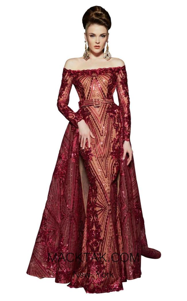 MNM Fouad Sarkis 2440 Burgundy Front Dress