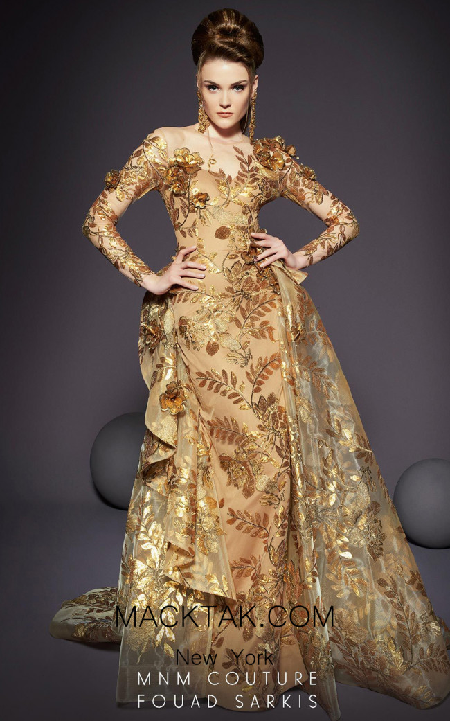 MNM Couture 2463 Gold Front Dress