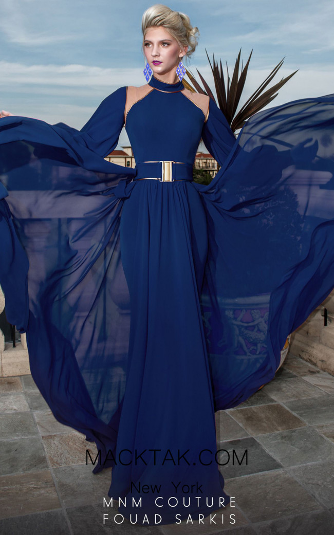 MNM Couture 2480A Blue Front Dress