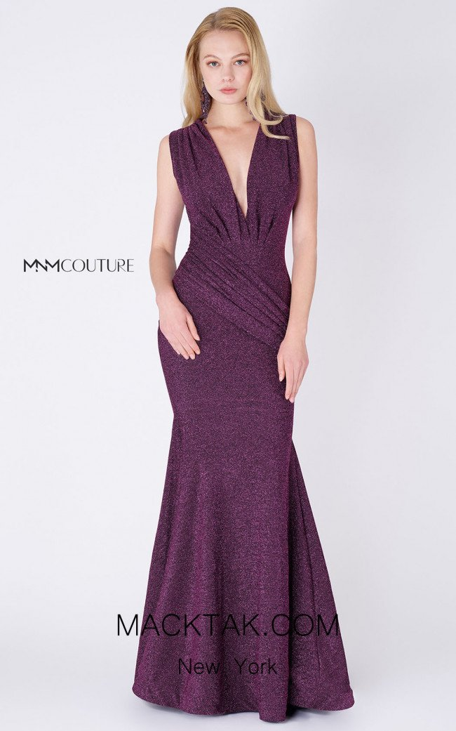 MNM Couture L0001B Purple Front Dress