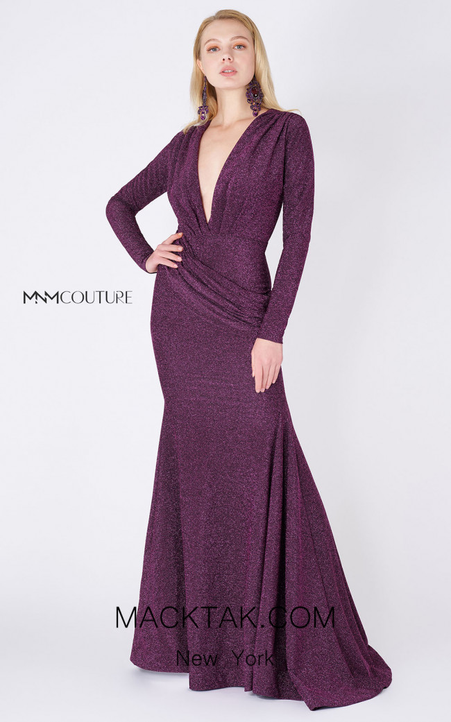 MNM Couture L0002B Purple Silver Front Dress