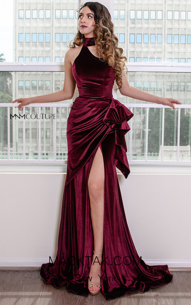 MNM Couture L0038 Burgundy Front Dress