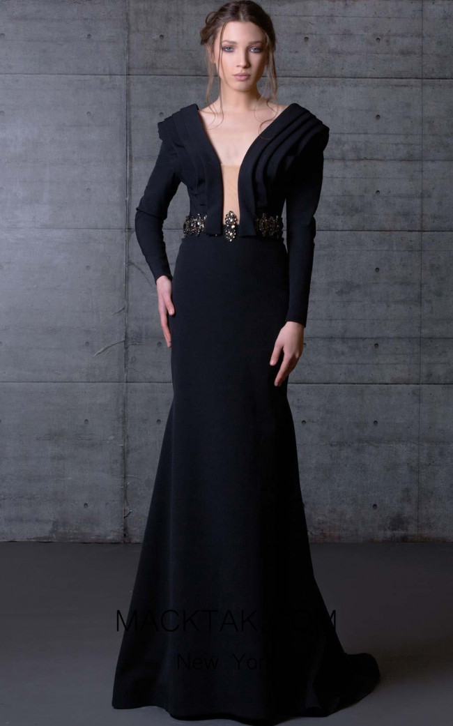 MNM N0065 Black Front Evening Dress