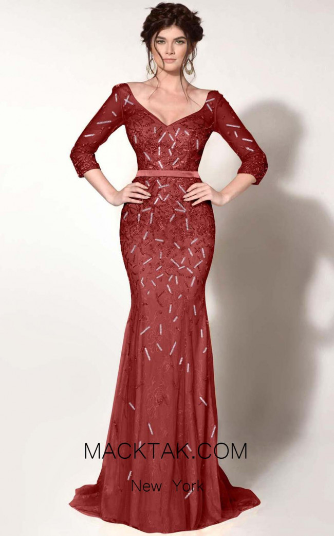 MNM Couture 0767 Burgundy Front Dress