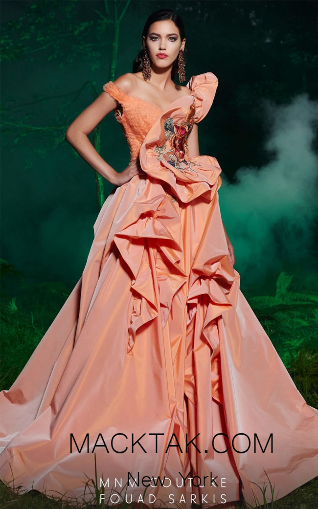 MNM 2486 Coral Front Evening Dress