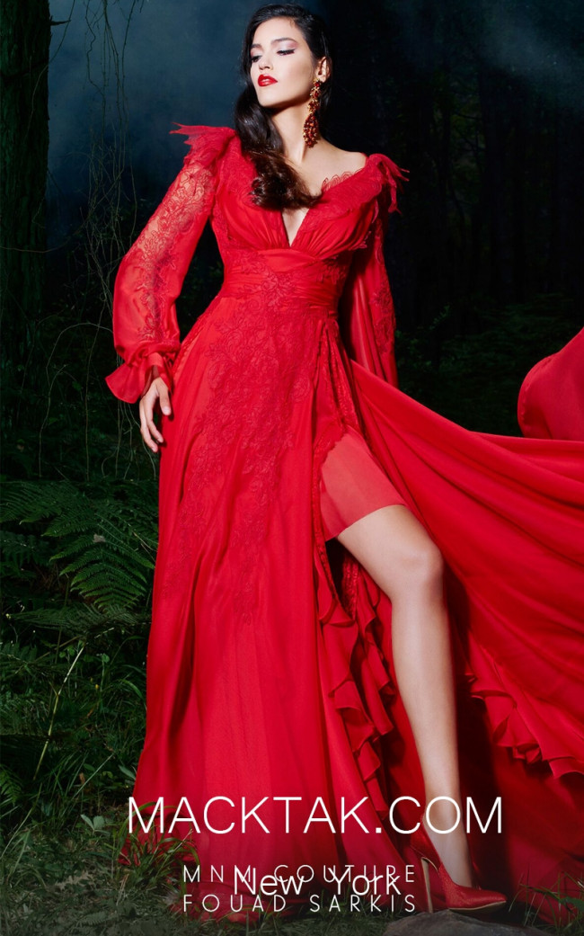 MNM 2499 Red Front Evening Dress