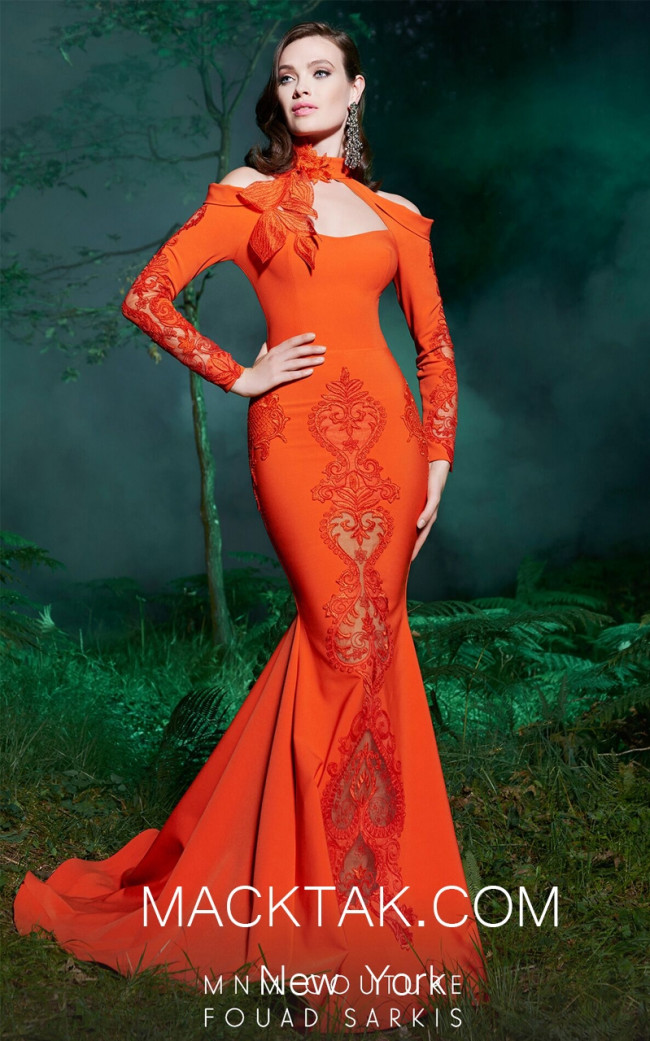 MNM 2502 Orange Front Evening Dress