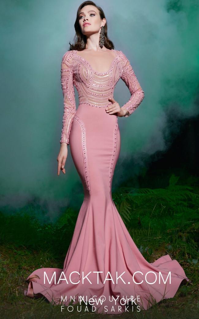 MNM 2503 Pink Front Evening Dress