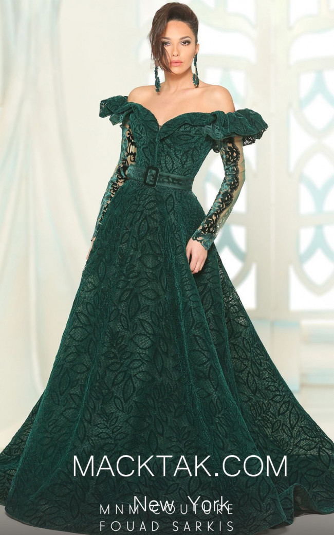 MNM 2512 Green Front Evening Dress