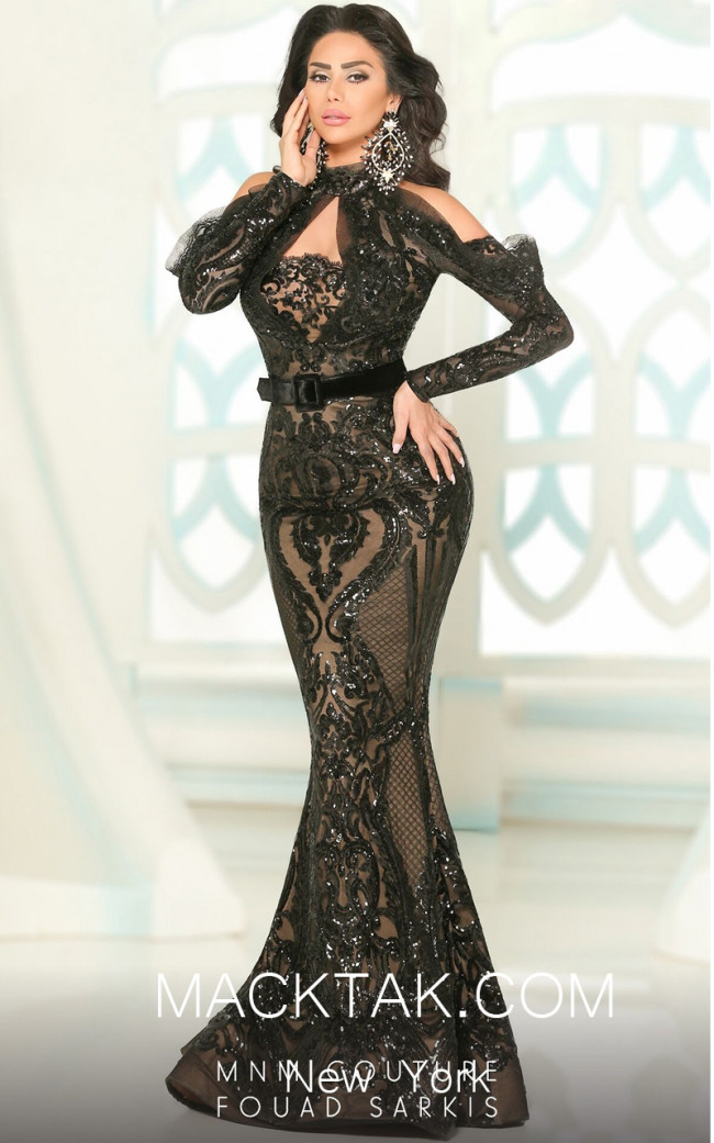 MNM 2514 Black Front Evening Dress