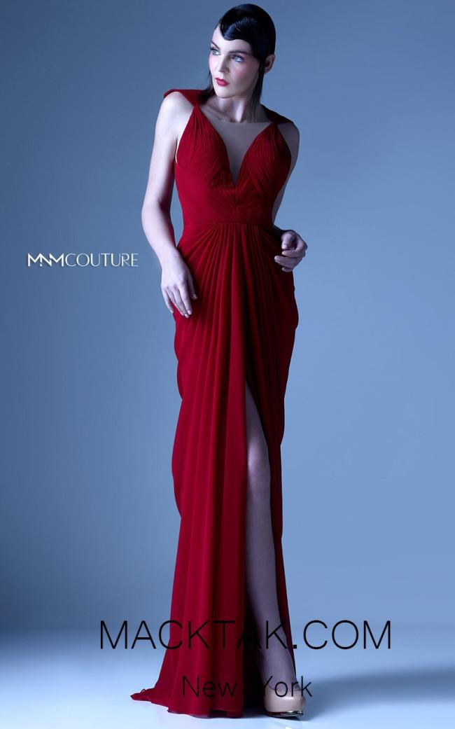 MNM G0919 Burgundy Front Evening Dress