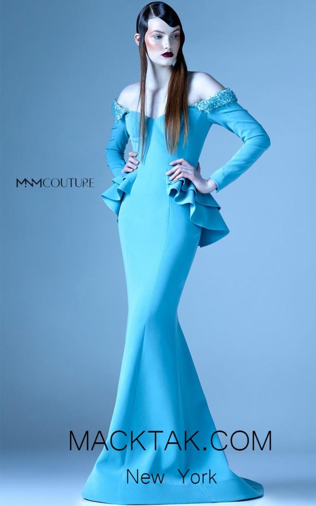 MNM G0936 Blue Front Evening Dress