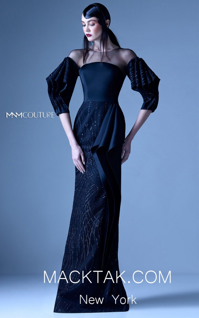 MNM G0956 Black Front Evening Dress