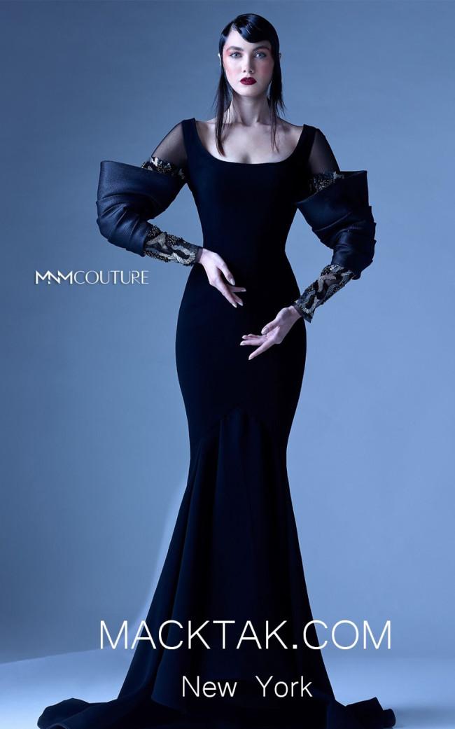 MNM G0957 Black Front Evening Dress