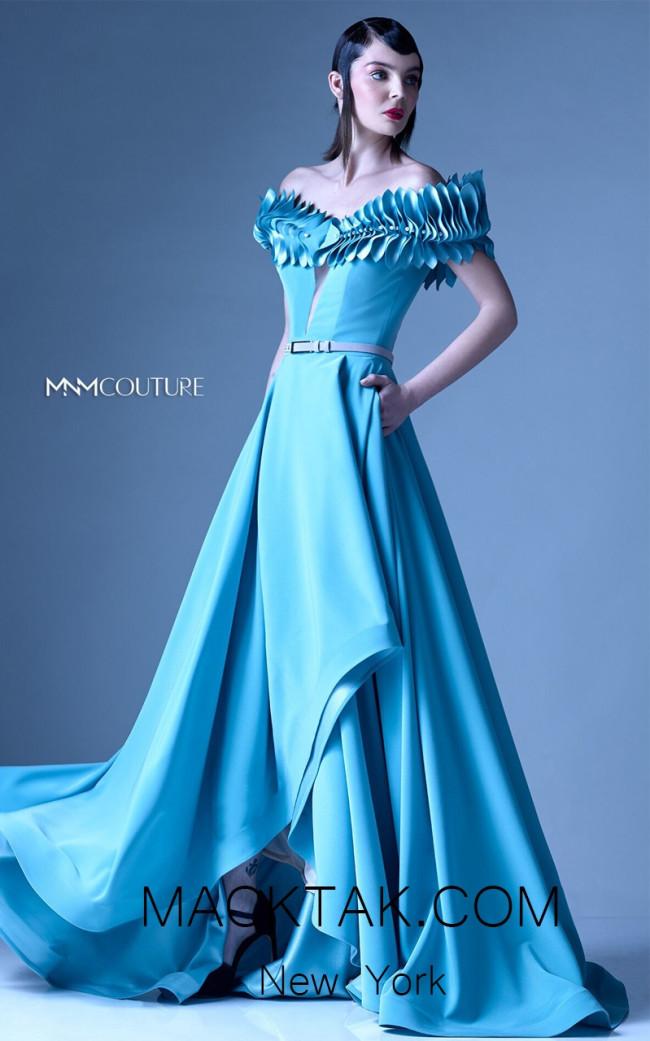 MNM G0962 Aqua Front Evening Dress