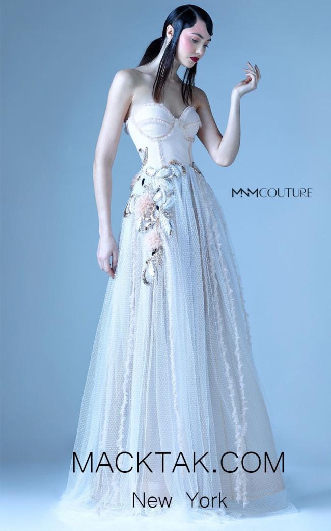 MNM G0964 Beige Front Evening Dress