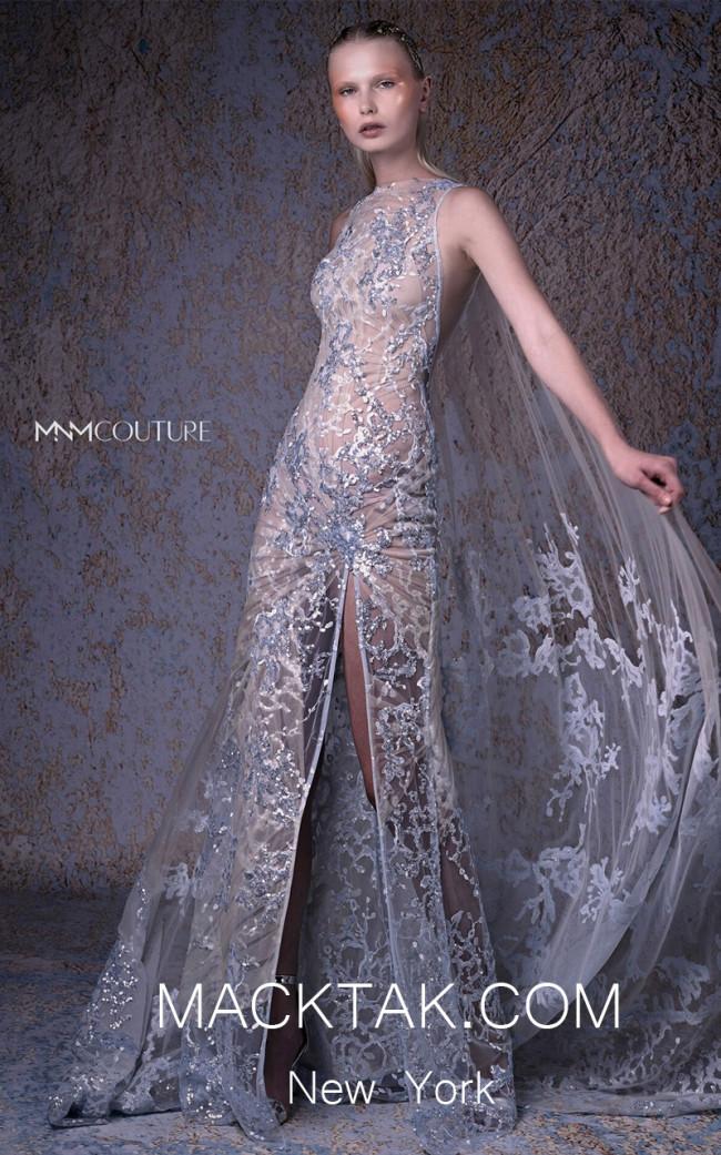 MNM G1007 Silver Front Evening Dress