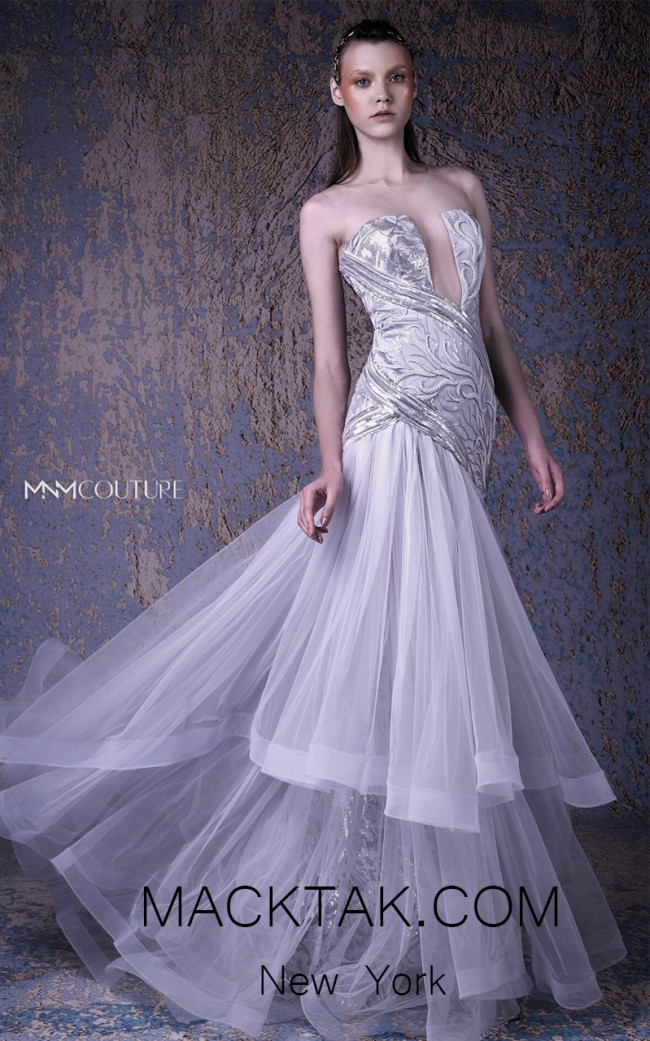 MNM G1026 Silver Front Evening Dress