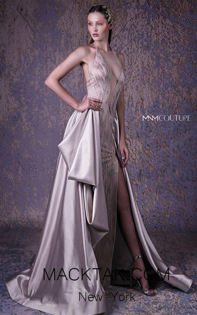 MNM G1030 Beige Front Evening Dress