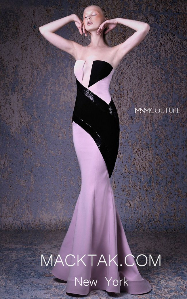 MNM G1044 Pink Black Front Evening Dress