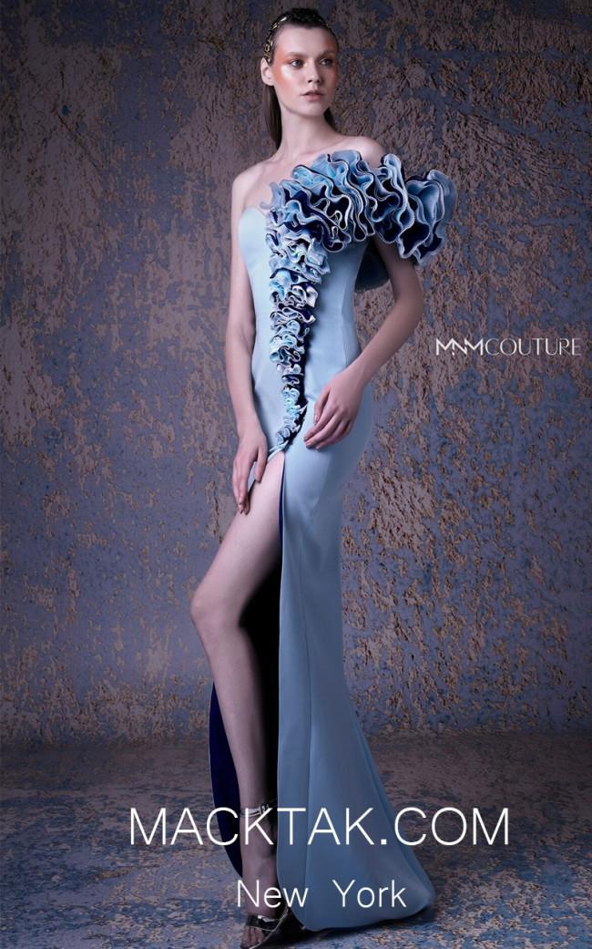 MNM G1046 Blue Front Evening Dress