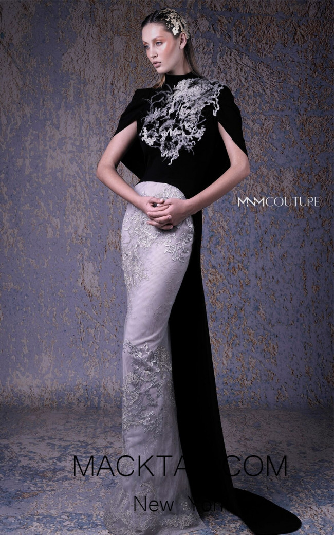 MNM G1058 Black Silver Front Evening Dress