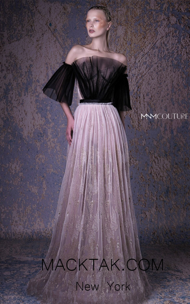 MNM G1063 Black Gold Front Evening Dress