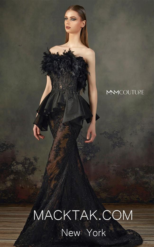 MNM K3664 Black Front Evening Dress