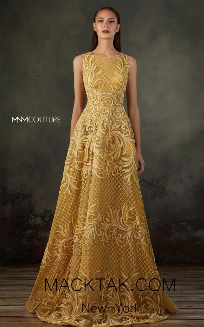 MNM K3665 Mustard Front Evening Dress