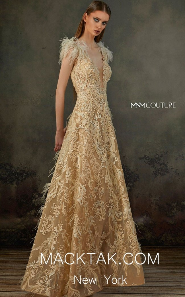 MNM K3688 Beige Front Evening Dress