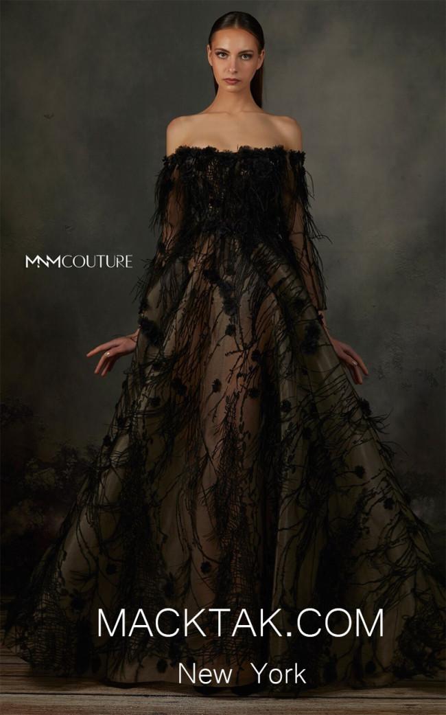 MNM K3689 Black Front Evening Dress