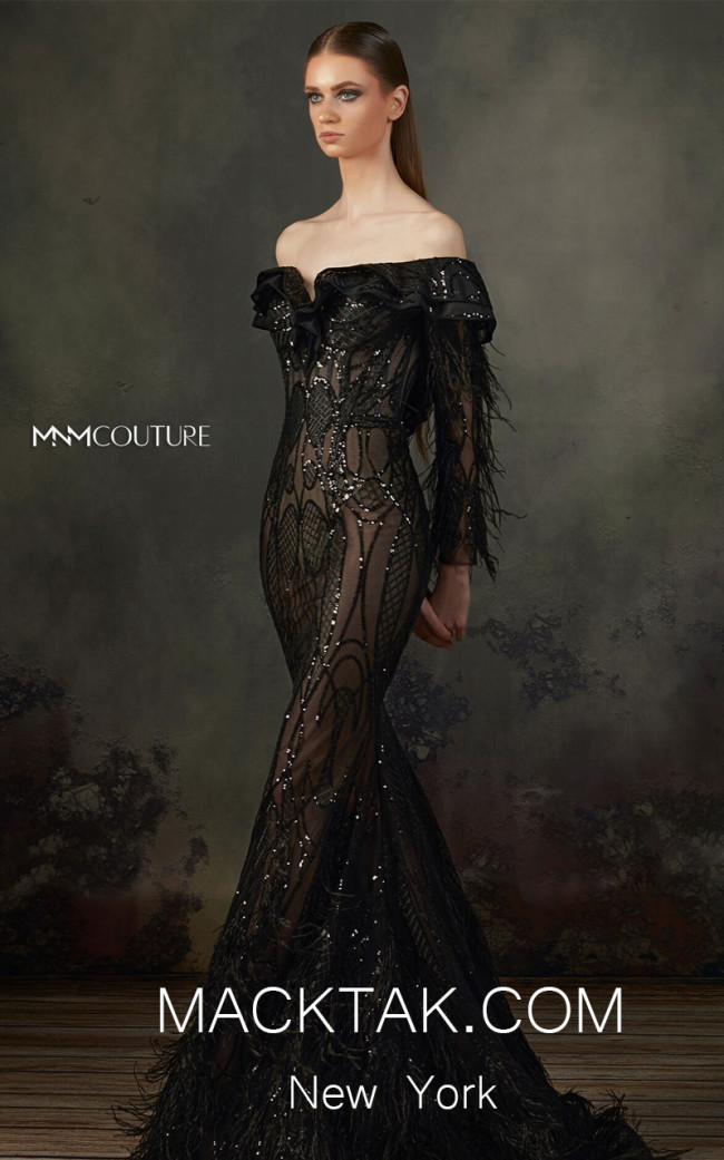 MNM K3690 Black Front Evening Dress