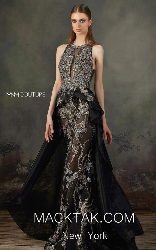 MNM K3696 Black Front Evening Dress