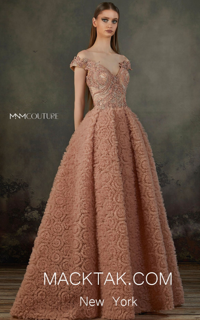 MNM K3697 Salmon Front Evening Dress