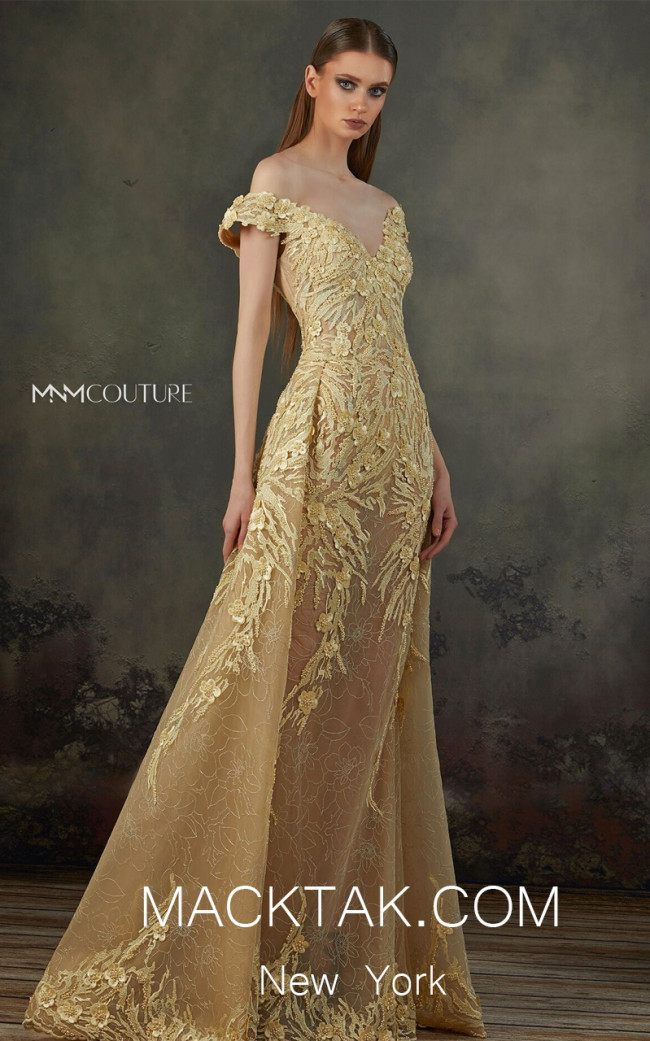 MNM K3704 Yellow Front Evening Dress