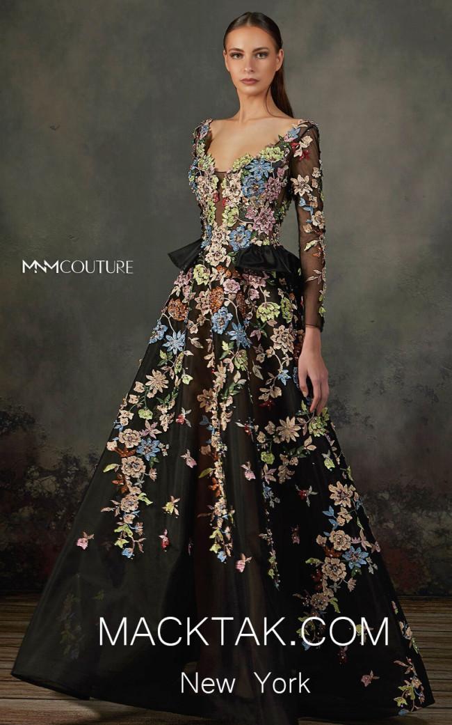 MNM K3706 Black Front Evening Dress