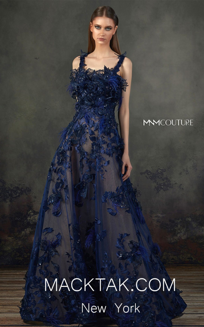 MNM K3712 Navy Blue Front Evening Dress