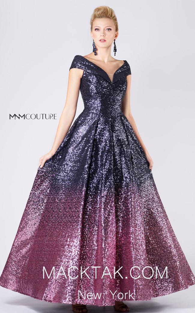 MNM M0009 Navy Fuchsia Front Evening Dress