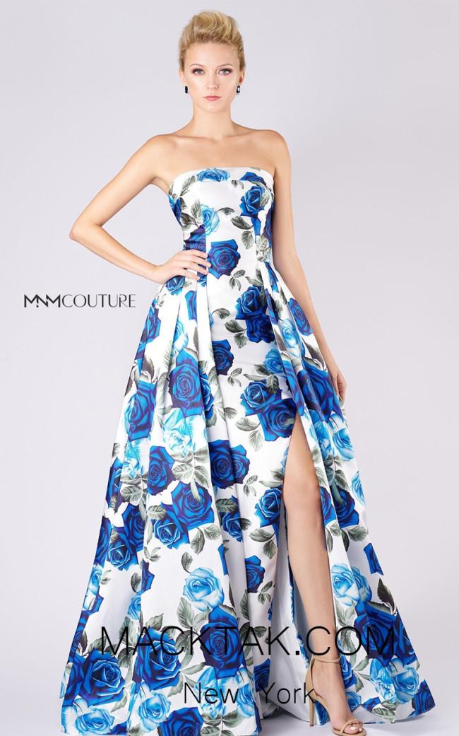 MNM M0033 White Blue Front Evening Dress