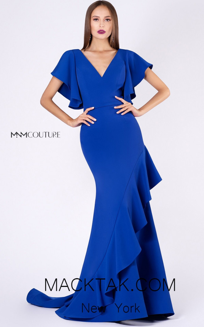 MNM M0036 Royal Blue Front Evening Dress