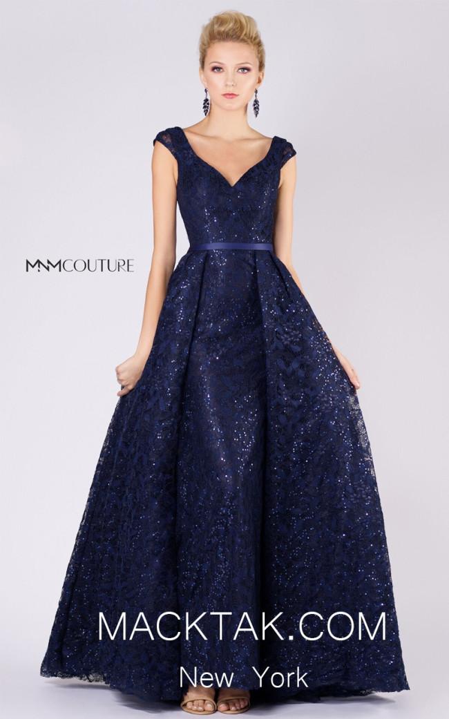 MNM M0038 Dark Blue Front Evening Dress